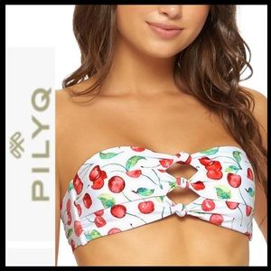 NWT PilyQ Cherry Knot Bandeau Bikini Top